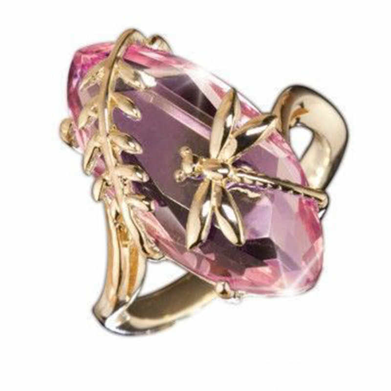 โปร่งใสสีเขียว Zircon DRAGONFLY แหวนแหวนหมั้นแหวนหญิงสีชมพูคริสตัล Boho Big แหวนผู้หญิงแหวนหญิง