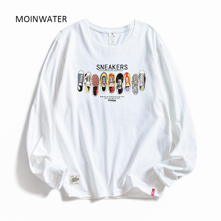 MOINWATER Women Casual Print Long Sleeve T-shirts Lady Cotton Black Fashion Tops Female White Tees Shirt MLT1908