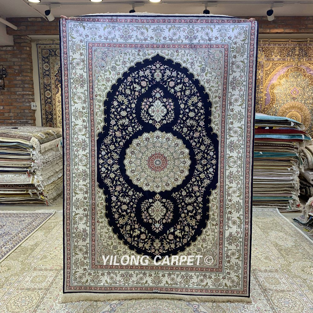 YILONG 4'x6' Hand knotted blue luxury living room carpet turkish tabriz silk rugs (HF289B)