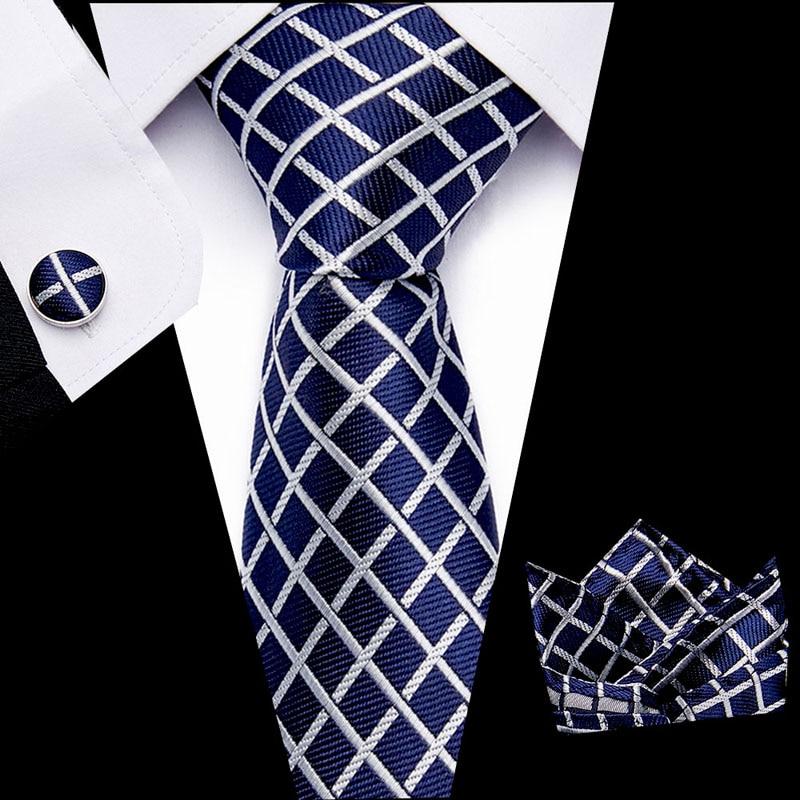Free Shipping Mens Ties  Luxury Paisley Blue Silk Tie With Hanky Tie Set Cufflinks Buisness Jacquard Woven Neck Tie