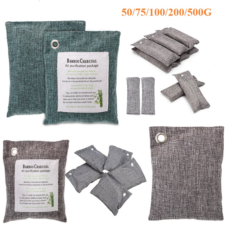 Air Purifying Bags Bamboo Charcoal Bag Natural Purifier Deodorize Absorber For Automobile Cabinet Refrigerator Bedroom Shoes