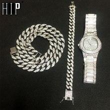 Ожерелье+ часы+ браслет в стиле хип-хоп, кантри, кубинская цепочка, золото, серебро, Iced Out, проложили стразы, CZ, Bling Rapper для Мужчин, Ювелирные изделия
