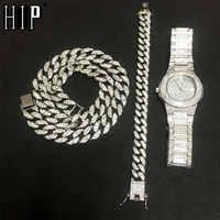 Collier + montre + Bracelet Hip Hop Miami gourmette chaîne cubaine or argent glacé pavé strass CZ Bling rappeur pour hommes bijoux