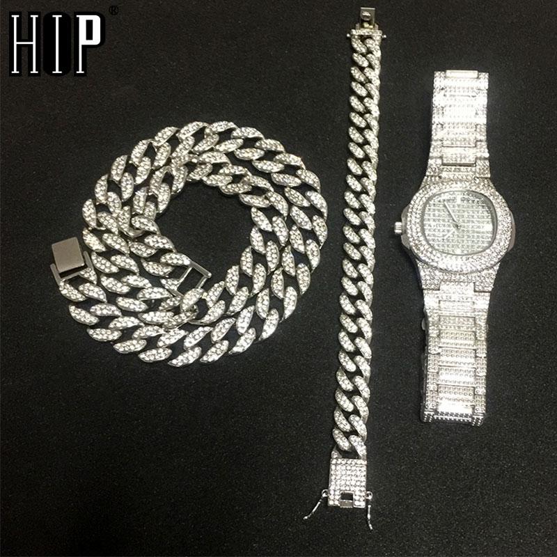 Halskette + Uhr + Armband Hip Hop Miami Curb Kubanischen Kette Gold Silber Iced Out Gepflasterte Strass CZ Bling Rapper für Männer Schmuck