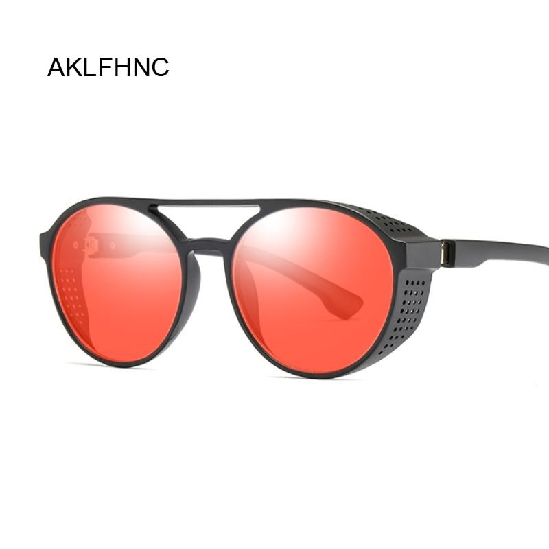 Red Steampunk Sunglasses Women Retro Goggles Round Flip Up Sun Glasses Female Steam Punk Vintage Fashion Eyewear Oculos De Sol