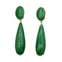 Qingdao jewelry green imitation jadeite earrings clip luxury resin Earrings Fashion noble temperament Goddess earrings jewelry m earrings m by maiocci earrings