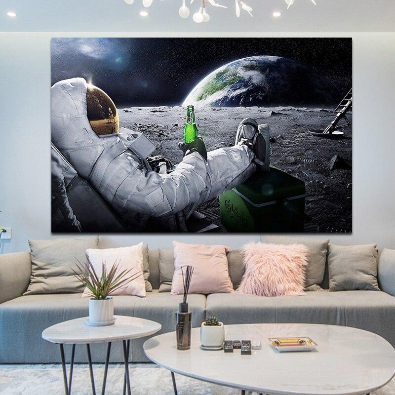 Weltraum Erde Astronauten Trinken Bier Leinwand Malerei Gedruckt Auf Wand Kunst Bilder Startseite Cuadros Dekoration Für Wohnzimmer