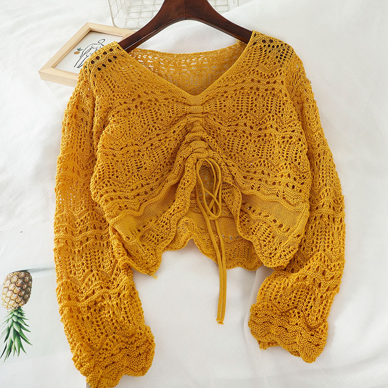 2020 Autumn New Knitted Women Sweaters And Pullovers V-neck Flare Sleeved Solid Hollow Out Drawstring Short High Waist Lady Tops
