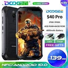 Doogee s40 pro smartphone 4gb + 64gb octa núcleo 13mp ip68/ip69k celular 5.45 hd hd hd + android 10 4650mah nfc 4g lte celular