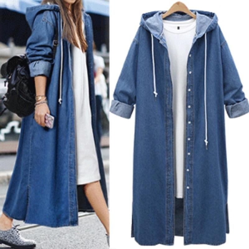 Femael Fashion Loose Long Sleeve Hooded Denim Jacket Coat Ladies Casual Buttons Long Jean Coat Cardigan Outwear Tops