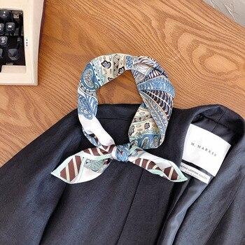 New silk scarves silk crepe satin plain 53cm small square scarves asymmetrical design exquisite design silk scarves
