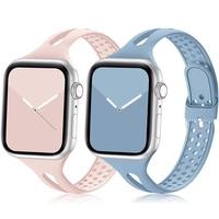 Schlank sport strap für Apple uhr band 40mm 44mm 38mm 42mm Zubehör Silikon armband correa armband iWatch 3 4 5 se 6 band