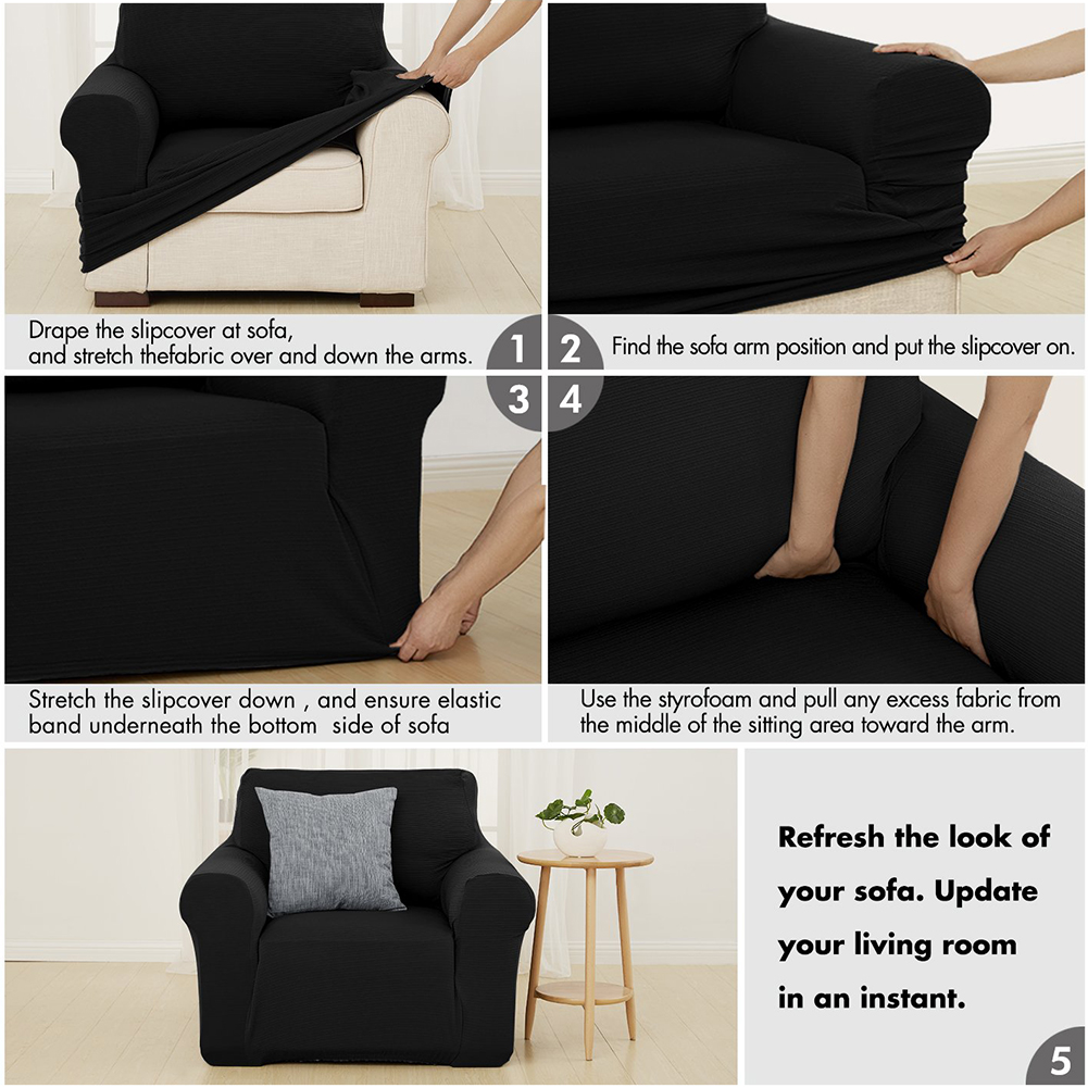 MEIJUNER Waterproof Sofa Cover in Solid Color with High Stretchable Slipcover for Dining Room 22