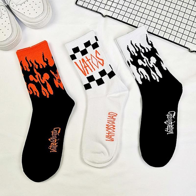 New Fashion Street Hip Hop   Socks   Harajuku Street Hip Hop   Socks   Unisex Fun Men'S   Socks   Happy Skateboard Flame Ladies   Socks