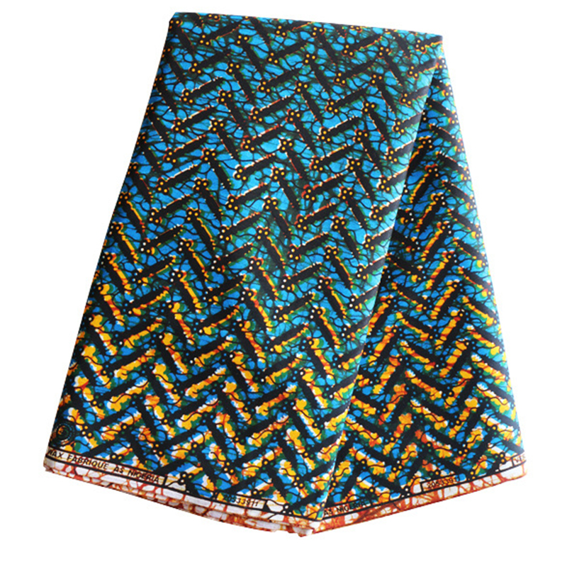 High Quality African Blue And Yellow Prints Lace Fabric Veritable Wax Real Nigerian Fabric 6 Yards/pcs 100% Cotton