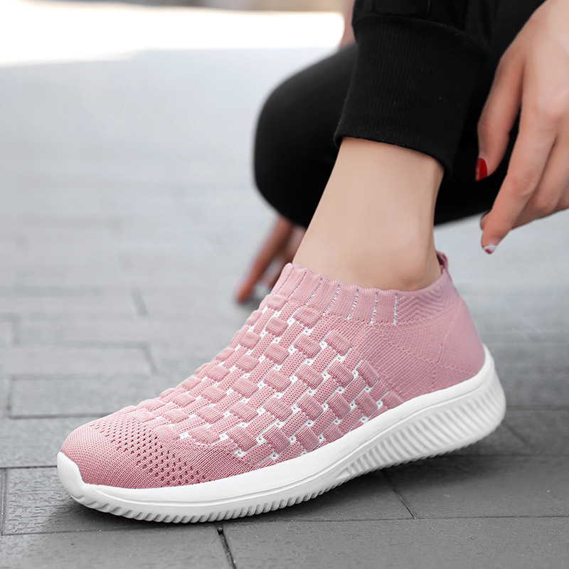 women autumn knit sock shoes elastic slip on running shoes female outdoor sports shoes