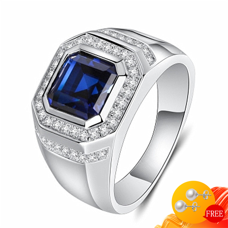 Fashion Men Ring 925 Silver Jewelry Geometric Shape Sapphire Zircon Gemstones Finger Rings for Wedding Engagement Accessories