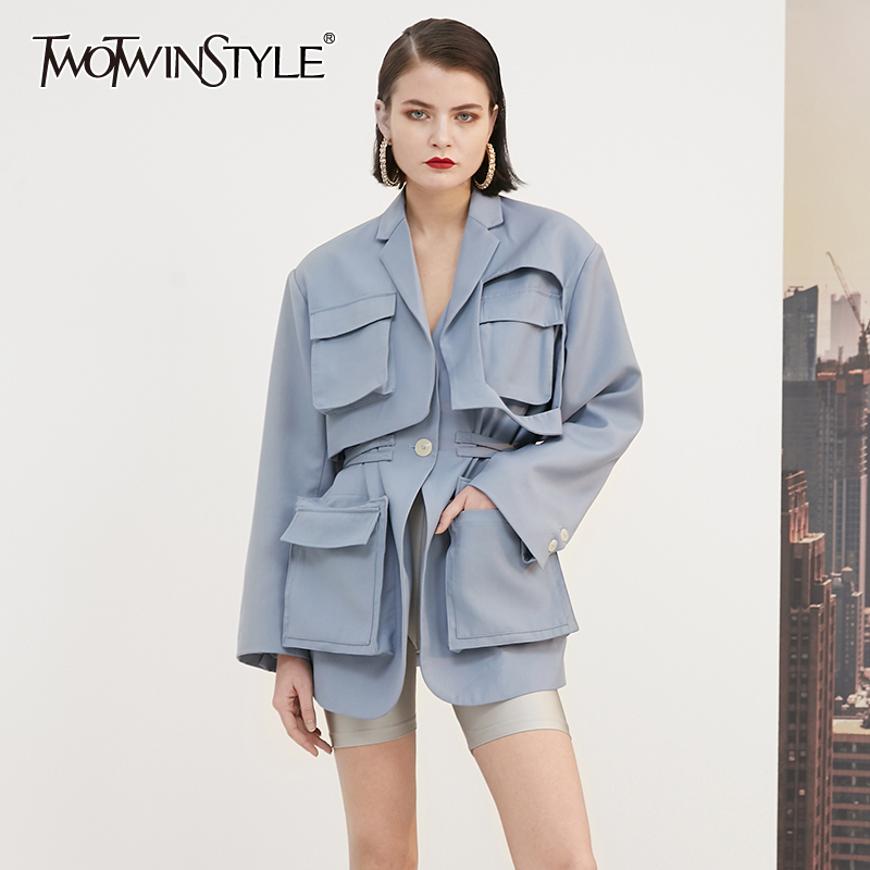TWOTWINSTYLE Casual Windbreakers For Women Lapel Collar Long Sleeve High Waist Lace Up Trench Coats Female 2020 Clothing Fashion