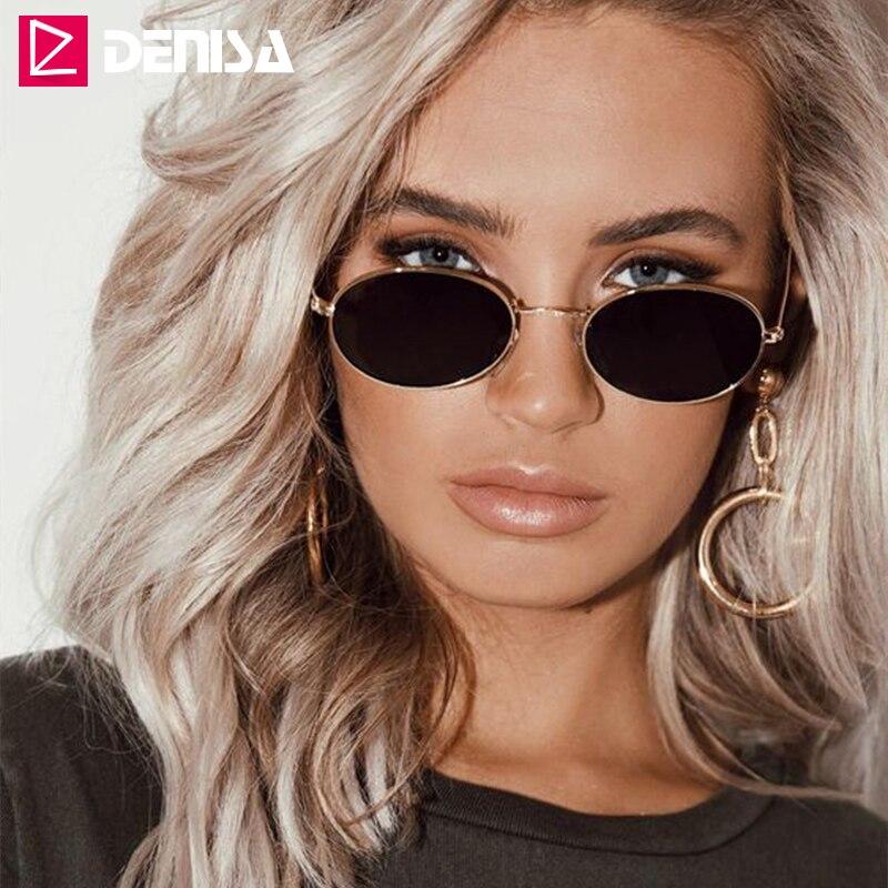 DENISA marque Vintage petites lunettes de soleil ovales femmes hommes lunettes noires rétro conduite lunettes de soleil pour hommes UV400 zonnebril dames G783