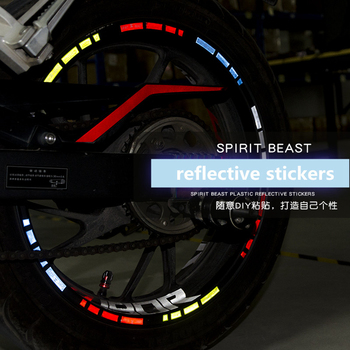 Spirit Beast Universal Motorcycle Wheel Stickers Tyre Pastes Reflective 10pcs Pvc Stickers For Honda Yamaha Kawasaki Suzuki image
