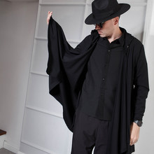 Europe and America dark mid-length hooded cardigan cape irregular curved men and women coat long sleeve hip hop wild