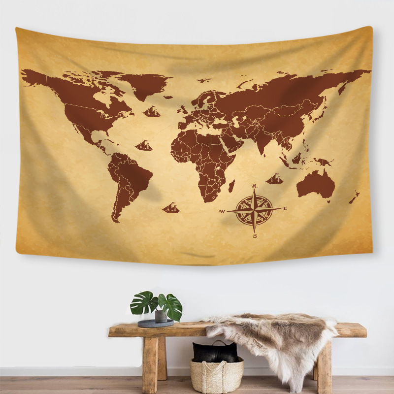 New Creative Ins Style Tapestry Digital Printing World Map Modeling Horizontal Wall Decoration