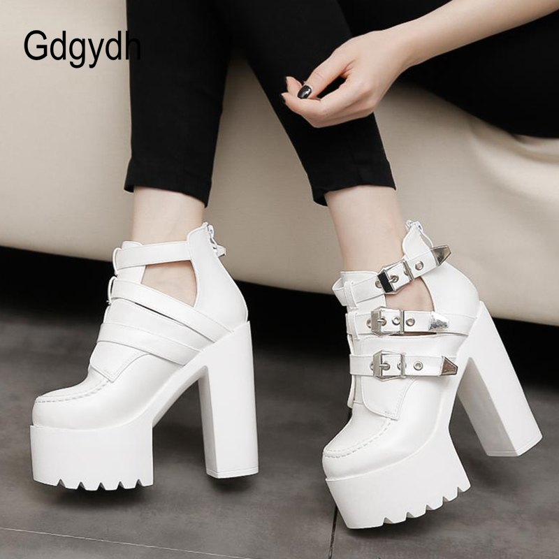 Gdgydh 2020 New Women Ankle Boots Round Toe Shallow Out High Platform Buckle Female Short Boots Soft Leather Thick High Heels