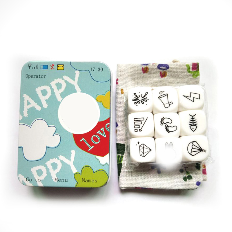 New Telling Story Dice Game Story Metal Box/Bag English Instructions Family/Parents/Party Funny Imagine Magic Toys