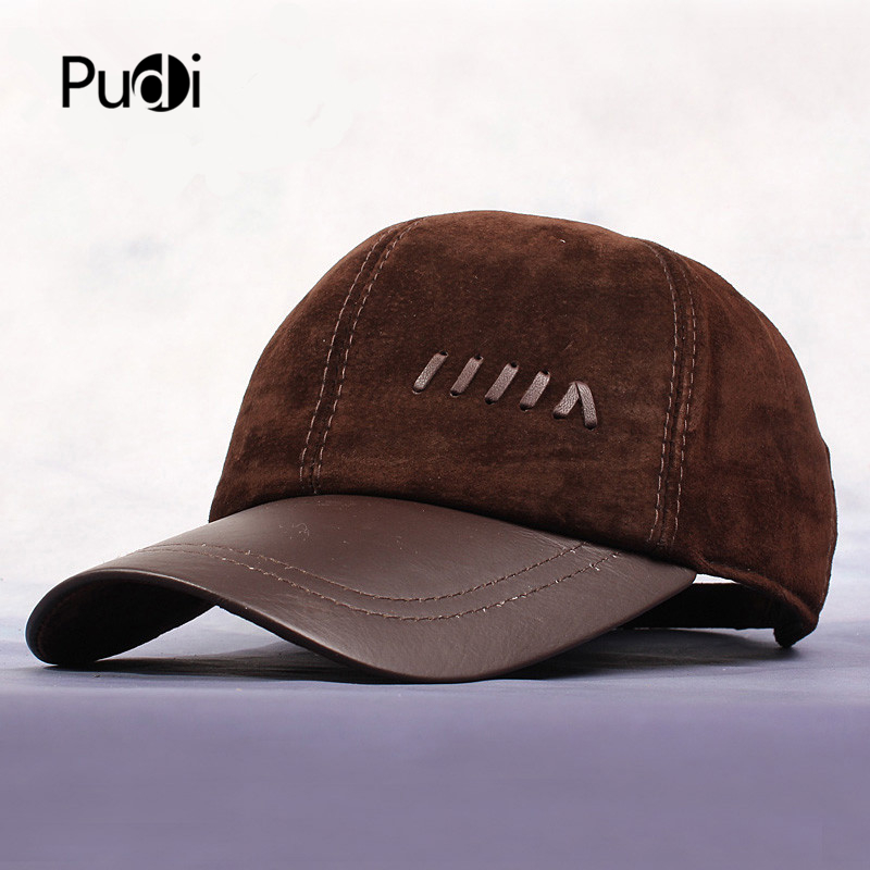 HL022  New Men's Genuine Brown Matte leather Hat / Baseball Caps  autumn nubuck brand  trucker driving Flap hat/caps
