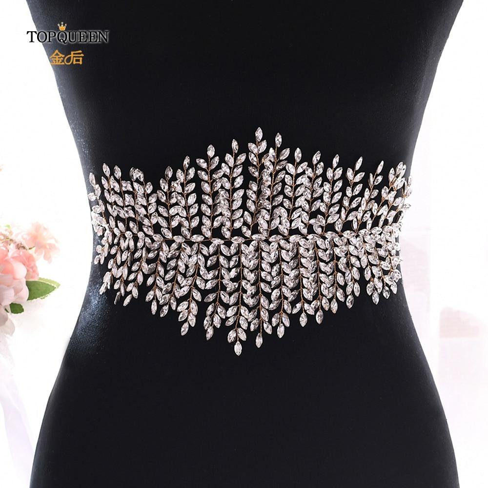 TOPQUEEN Gold Rhinestone Waist Belt Gold Beaded Belts For Formal Dresses Jewelry Sash Belt Bridal Sash Belt Bling Belts SH238-G