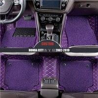Custom Car Floor Mats For HONDA City IV V VI 2002 2014 2015 2016 2017 2018 2019 custom auto carpet car accessories car styling