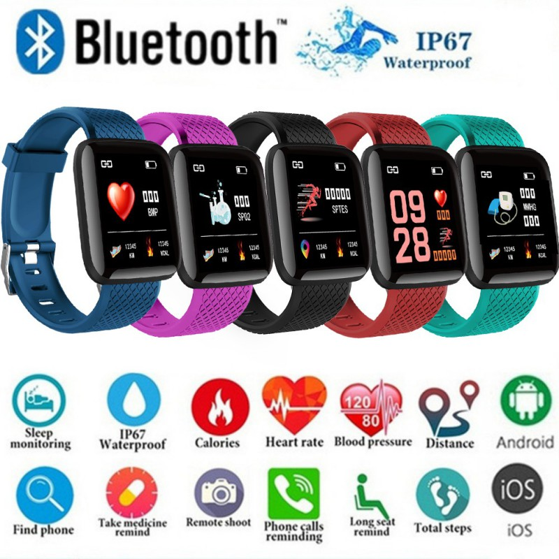 1.3 Inch Large 116 Plus Color Screen Smart Wristband Real-time Heart Rate Blood Pressure Sleep Waterproof Smart Wristbands