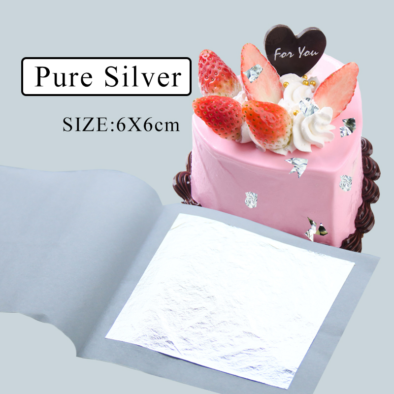 Edible Silver Leaf 99.99% Real Silver Foil 10pcs 6x6cm For Food Cake Decoration Painting Art Craft Ceramics Gilding Edible Sheet
