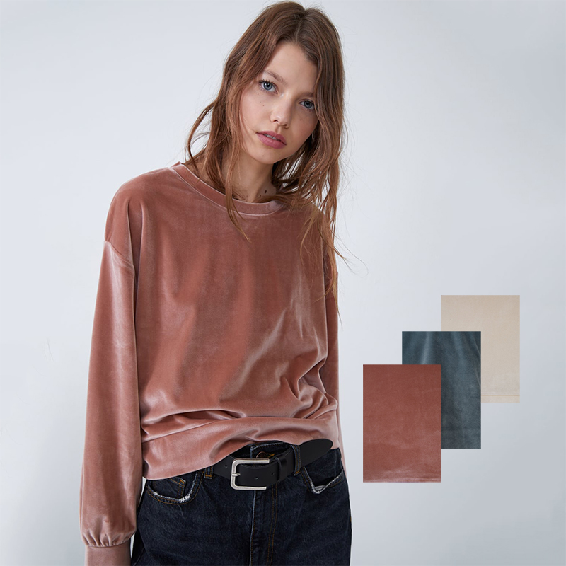 ZA Velvet Warm Bottoming Pullover Sweaters New Fashion Fall Long Sleeve Pullover Sweater For Women Solid Color Warm Sweater
