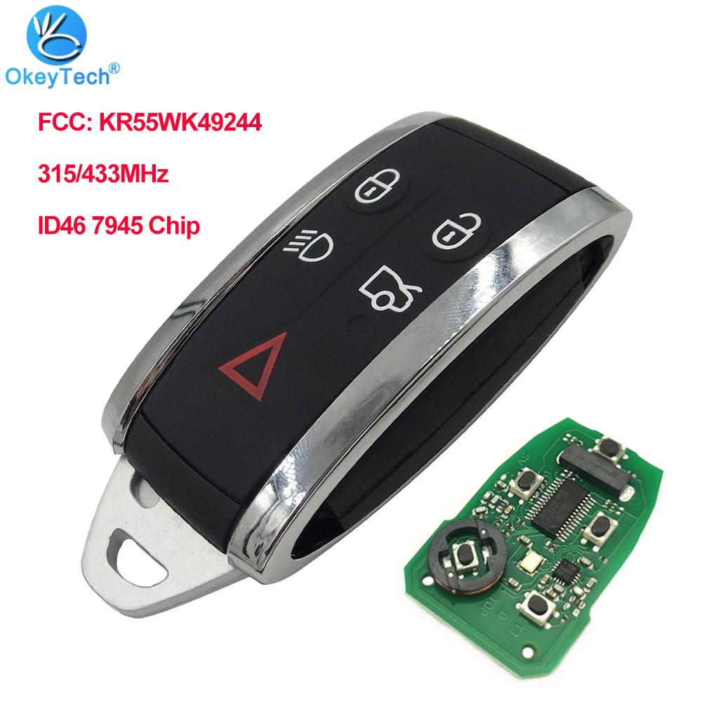 OkeyTech дистанционный Автомобильный ключ 5 кнопок для Jaguar XF XFR XK XKR 2009-2013 315/433 МГц ID46 7945 чип FCC: KR55WK49244 бесключевая запись