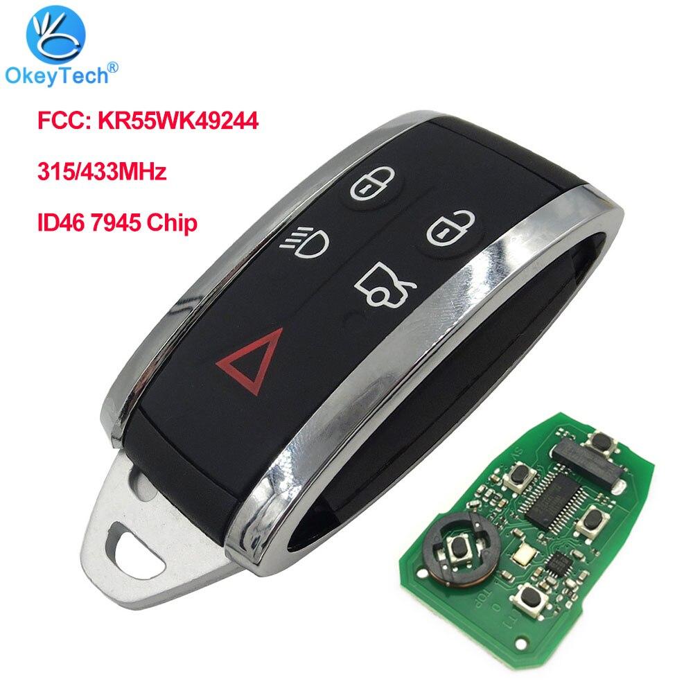 Okeytech remoto chave do carro 5 botões para jaguar xf xf xk xkr 2009-2013 315/433mhz id46 7945 chip fcc kr55wk49244 keyless entrada