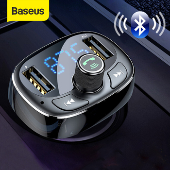 Baseus FM Transmitter Modulator Bluetooth Handsfree Car Kit Audio MP3 Player with 3.4A Dual USB Car FM Transmittor Phone Charger