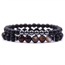 New fashion mens bracelet classic series stone bead DIY elastic double layer unisex gifts