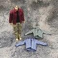 Мужская одежда в масштабе 1/12, экшн-фигурка 6 дюймов, красная клетчатая рубашка с длинным рукавом, джинсовый костюм, кукла, повседневный круто...
