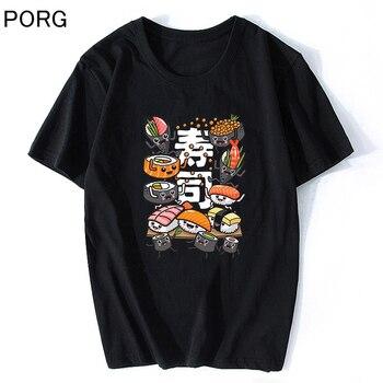 Camiseta de Manga corta de Sushi japonés para Hombre y mujer, Camiseta...