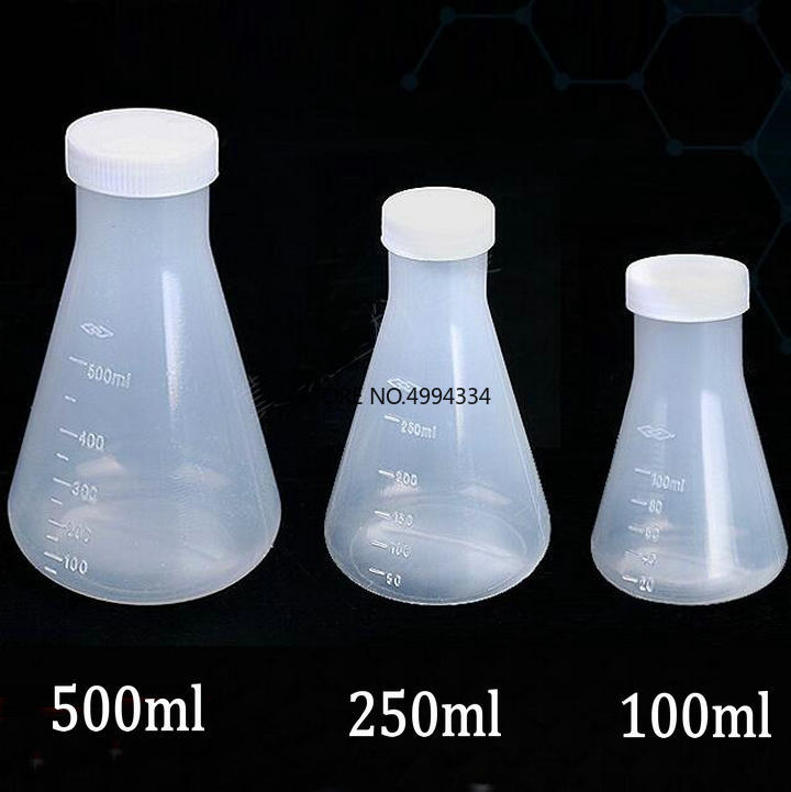 Free Shipping 100ml/250ml/500ml Plastic Erlenmeyer Flask, Conical Flask Bottle With Screw Cap