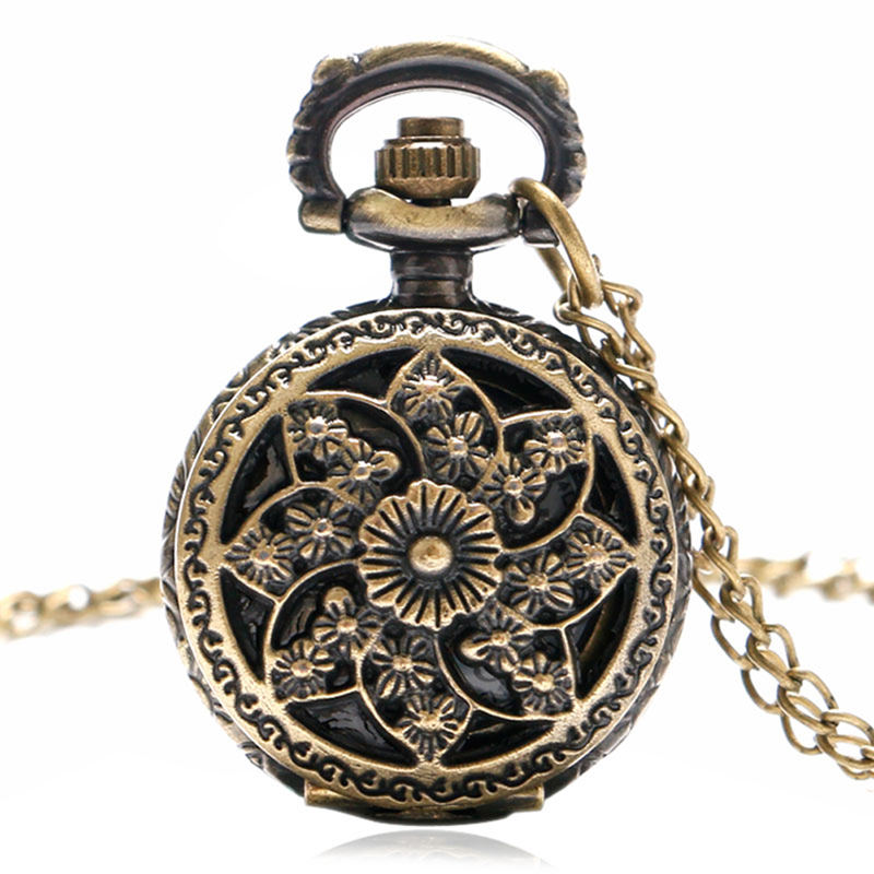 Retro Bronze Sun Flower Design Quartz Fob Pocket Watch With Necklace Chain Free Drop Shipping Gift