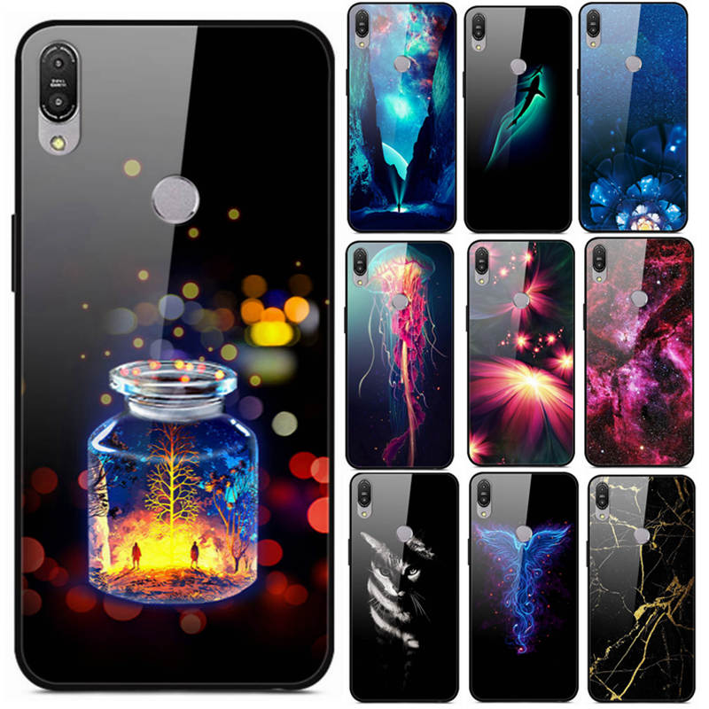 Tempered <font><b>Glass</b></font> Back Cover For Asus Zenfone Max Pro m1 ZB602KL ZB601KL Phone Cases Luxury Cute Silicone Painted Skin <font><b>ZB</b></font> <font><b>602kl</b></font> image