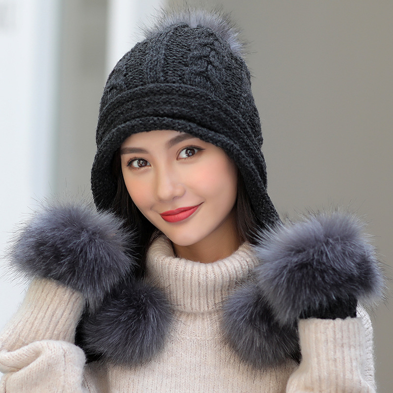 HT2673 Thick Warm Winter Set Women Fur Pompoms Earflap Cap Hat Gloves Set Female Knitted Hat And Gloves Women Winter Accessories