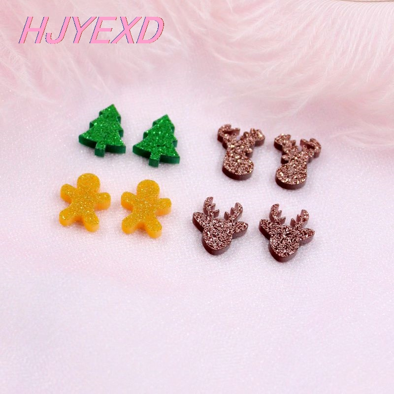 (10pcs Each) 12/14mm Giltter Acrylic Deer Gingerbread ManTree Stud Earrings (no Stud Back) Christams Earrings Laser Cut -AC1593