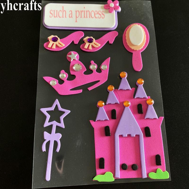 1 пакетов/лот, животные Санта Рождество автомобиль цветок Русалка Принцесса динозавр рыба Сова 3D наклейки из пены декоративные элементы diy игрушки подарки - Цвет: 1 sheet princess
