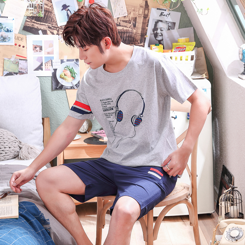 New Men's Pajamas Set 2020 Summer Loose Leisure Men Sleepwear Top Cotton Men's Short Sleeve Loungewear Suit FashionTracksuit Set