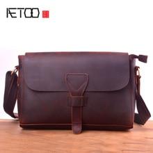 AETOO Vintage mad horse leather shoulder bag, handmade head layer psoriasis bag, leather postman bag недорого