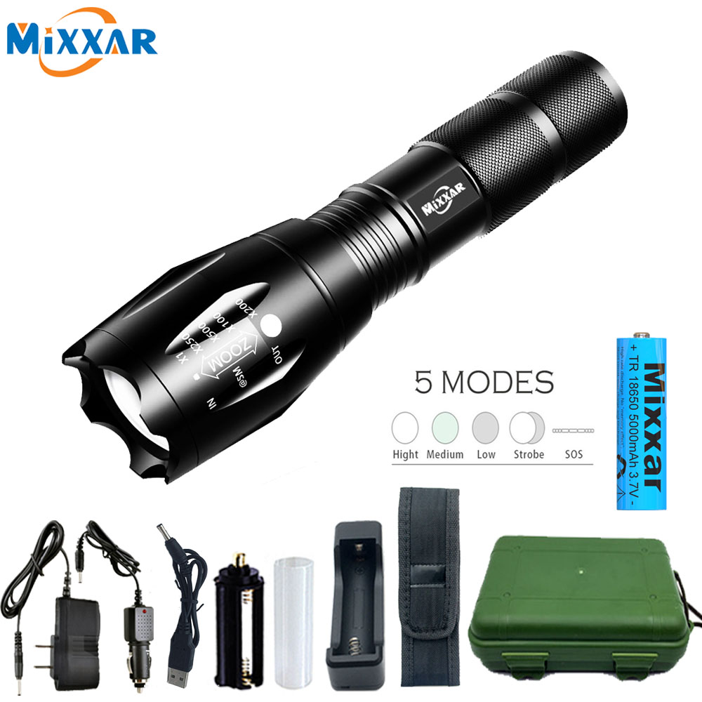 Dropshipping T6/L2/V6 Zoomable Led Flashlight Tactical lanterna Q250 TL360 Torch waterproof flashlight Bicycle Light for Camping