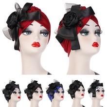 อินเดียมุสลิมผู้หญิงสุทธิเส้นด้าย Bowknot Retro หมวกผ้าพันคอ Chemo หมวกแฟชั่น Turban Headwrap หมวกหรูหรา VINTAGE Bonnet อิสลาม